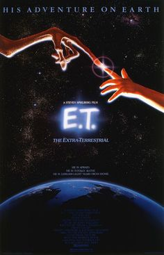 E.T. - An absolute iconic classic. Although we only think that because we know what this film stands for. Looking at the poster design wise the subtle blue light coming from the title revealing the earth compliments the dark background well. Key moment captured when the fingers touch and light shines (symbolise power of friendship). Gives hint of narrative via smaller text but we still don't see what the alien will look like.