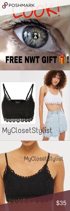 FREE! NWT $35 TOPSHOP LACE CROCHET BRALETTE  S M/L FREE TOPSHOP NWT BLACK LACE BRALETTE with Purchase!!! For a Limited time Only.  I have (1) small and (1) large size only. MSRP $35. NEW WITH TAGS! Purchase any single item or items totaling $100 or more from MyClosetStylist Closet. Standard Bundle discount does qualify. Must be $100 after bundle discount (excludes ship). It's like getting an additional $35 OFF!! Let me know which sz you want. HURRY- LIMITED TIME ONLY.  ❌Additional discounts…
