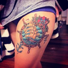 Not the pictured one; like the roses with the clock (change to compass) and that particular style--55 Thigh Tattoo Ideas | Cuded