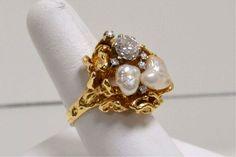 Baroque pearl rings | 233: 14kyg Diamond & Baroque Pearl ring 1.20ct : Lot 233