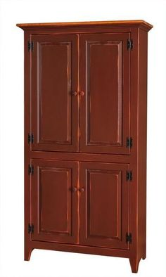 Amish Pine 4-Door Pantry Cupboard Solid wood storage wherever you need it, this fine pine cupboard is handcrafted in Amish country. Choose from a variety of stain and paint options for the perfect finish. #pinecupboard #cupboard #storage
