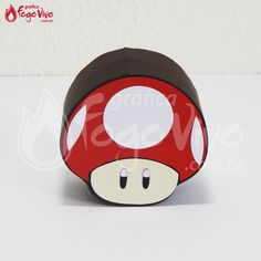 Caixa Cogumelo Super Mario Bros. Link: http://www.graficafogovivo.com.br/loja/shapes/kits-digitais/kit-digital-super-mario-bros.html