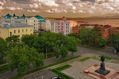 Historic waterfront along the Amur River in Khabarovsk, Russia