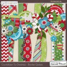 Countdown To Christmas - Border Clusters :: Kit Element Bits :: Kits & Bits… Scrapbook Borders, Scrapbook Embellishments, Scrapbook Sketches, Scrapbook Page Layouts, Disney Scrapbook, Scrapbook Supplies, Scrapbook Cards, Scrapbook Images, Christmas Border