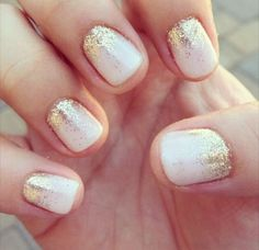 Simple but effective beautiful fairy dust nails. White & gold.