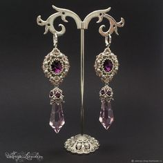 Серьги `Аметист` из бисера с кристаллами Сваровски, серьги с жемчугом, розовые серьги серебро, серебряные серьги, длинные серьги.
