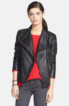 Free shipping and returns on Trouve Trouvé Leather Moto Jacket at Nordstrom.com. A clean, unadorned design lets beautifully tailored leather speak for itself on an essential moto jacket. Knit panels underneath the sleeves offer a comfortable range of motion while maintaining the sleek fit.