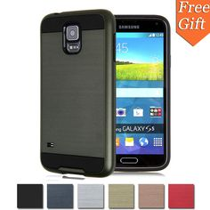 For Samsung S5 Case Slim Armor Silicone TPU + Brushed PC Hard Case 2 in 1 Phone Case For Samsung Galaxy S5 I9600 Soft Cover