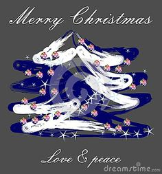Christmas wishes, a blue and white Christmas hand-made tree, stars and balls on elegant background.