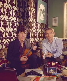 Residents of 221B Baker St (Benedict Cumberbatch and Martin Freeman as Sherlock Holmes and Dr. John Watson)