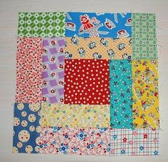 This block is new to me. Log Cabinesque but good for shorter strips. Value placement here is random...might make a nice alternate block w/applique blocks