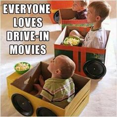 """have the kiddos help make their own """"cars"""" for their movie drive-in movie night!"""