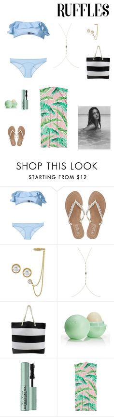 """""""beach please"""" by kittykat125 ❤ liked on Polyvore featuring Lisa Marie Fernandez, M&Co, Rachel Rachel Roy, Eos and Too Faced Cosmetics"""