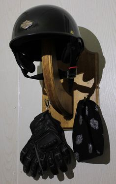 Motorcycle Helmet Holder Bicycle Helmet Hanger Wooden by BearLodge Capacete  Moto d67111f4522