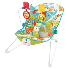 Fisher-Price Animal Party Bouncer Take it apart and it stores flat! Quiet vibration, too.