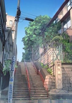 anime backgrounds Yotsuya Station by