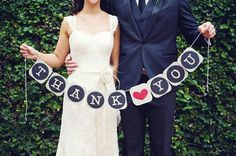 Thank You Banner Wedding Banner Wedding Day Banner Wedding Bunting Garland Thank You Sign