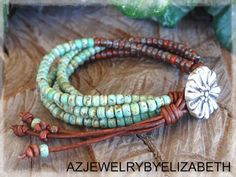 Seed Bead Bracelet Leather Bracelet Beaded by AZJEWELRYBYELIZABETH
