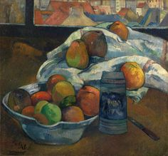 The Polyster Canvas Of Oil Painting 'Paul Gauguin Bowl Of Fruit And Tankard Before A Window ' ,size: 16 X 17 Inch / 41 X 44 Cm ,this High Quality Art Decorative Prints On Canvas Is Fit For Nursery Decor And Home Gallery Art And Gifts Paul Gauguin, Henri Matisse, National Gallery, Impressionist Artists, Window Art, Still Life Art, Art Moderne, Art Uk, Klimt