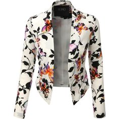 LE3NO Womens Lightweight Cropped Open Front Floral Blazer ($25) ❤ liked on Polyvore featuring outerwear, jackets, blazers, white cropped blazer, floral print blazer, light weight jacket, white blazer jacket and draped blazer