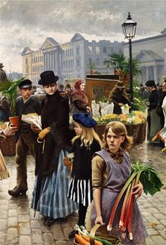 """Paul Gustave Fischer - """"Paa Højbroplads. April"""", where the artist's wife and daughter are seen in the foreground of the impressive painting and the ruins of Christiansborg Castle, that burned in 1884, is in the background. Bissen's statue of Absalon on horseback was erected in 1902, that is why it is not included in Fischer's painting"""