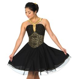 PLEASE ALLOW PRODUCTION TIME OF APPROXIMATELY 2-3 WEEKS In the event a dress size is on back order, please allow approximately 4-6 weeks for completion   A lovely ballet inspired dance dress with gold sequin straps and trim, a bit of gathered glitter mesh at the bust and a layered skirt of georgette … Read more →