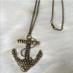 """Anchor necklace Anchor necklace. Brand new with tags. Chain measures 26"""" long (no extender). Clasp closure. Hits mid chest.  Pendant is 2"""" long and 2.5"""" tall. Price is firm unless bundled. No tradesAll jewelry gets a great discount when bundled!! Boutique Jewelry Necklaces"""