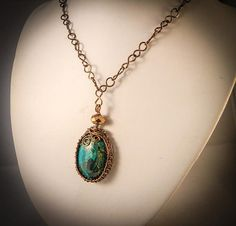 Malachite Pendant Woven Bezel with Bronze wire and Handmade Chain