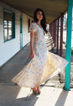 Vintage Maxi Dress 70s Cream FLORAL Romantic BOHO Empire Waist Maxi S. $46.00, via Etsy.
