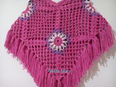 "Lunch Lady Seretta: ""This is my favorite poncho"" Crochet Poncho, Knit Crochet, Kids Poncho, Monochrome Color, Crochet Gifts, Crochet For Kids, Girls Accessories, Color Schemes, Hot Pink"