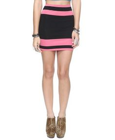 Essential Colorblocked Stripes Bodycon Skirt $8.80 (Forever 21)