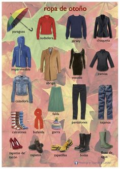 Ropa de Otoño - Spanish vocabulary for Autumn Clothes (Via V.K. website)