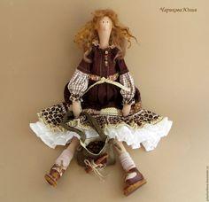Купить Кофейная бохиня - коричневый, тильда бохо, бохо-стиль, кукла ручной работы ☆