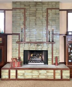 A Frank Lloyd Wright fireplace with sage color tiles by PCT Craftsman Tile, Craftsman Interior, Modern Industrial, Mid-century Modern, Avondale House, Porch Tile, Frank Lloyd Wright, Color Tile, Building Design