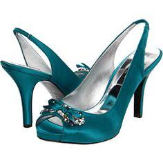 Teal peacock green peep toe sling back heels Shoes