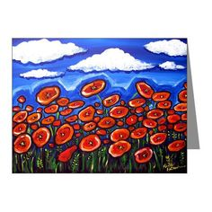 Red Poppies Field Whimsical Folk Art Fun Blank Note Cards Pk of 10