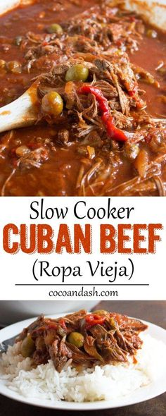 Ropa Vieja is a Cuban shredded beef slow simmered with so much flavor! It doesn't get any easier than this slow cooker version!! Easy dinner recipe!