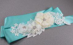 Tiffany blue garter White and blue bridal sash  by AngelicasBridal, $80.00