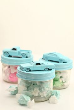 Boys present ideas. Cute car jars perfect for boys party or wedding favours