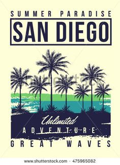 San Diego typography with palms tree illustration for t-shirt print , vector illustration.