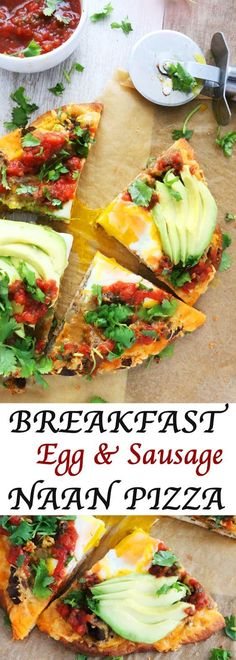 An excuse to have pizza for breakfast!   naan pizza   breakfast pizza   savory breakfast   mexican pizza   quick pizza   avocado pizza   egg and sausage Best Egg Recipes, Pizza Recipes, Brunch Recipes, Indian Food Recipes, Breakfast Recipes, Cooking Recipes, Healthy Recipes, Breakfast Ideas, Healthy Meals