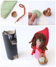 Toilet Paper Roll Little Red Riding Hood Craft - Red Ted Art - Make crafting with kids easy & fun Toilet Roll Craft, Toilet Paper Roll Crafts, Paper Crafts For Kids, Book Crafts, Diy For Kids, Fairy Tale Crafts, Paper Puppets, Basket Crafts, Red Riding Hood