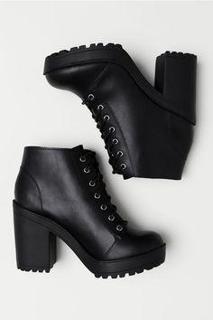1f4737abfaa Platform Ankle Boots. Black Heeled ...