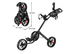 Caddytek Quad-Fold Up Golf Push Cart Compact Lightweight Ezgo 3 Wheels Black New #Caddytek