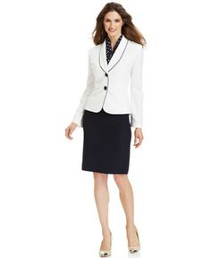 Le Suit Plus Size Winter White Blazer Skirt Suit with Scarf