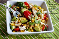 Roasted Corn and Avocado Salad with Spicy Vinaigrette