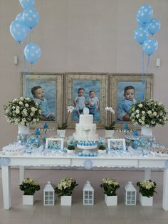 BY PINK BLUE PARTY Boy Baptism Centerpieces, Baptism Party Decorations, First Communion Decorations, Shower Centerpieces, Balloon Decorations, Baby Boy Baptism, Boy Christening, Baptism Party Boys, Baptism Ideas