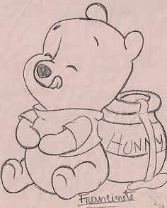 Art Sketches 91663 Renata's little things: Risks Teddy Bear Puff Baby . Disney Drawings Sketches, Easy Disney Drawings, Art Drawings Sketches Simple, Girl Drawing Sketches, Cute Easy Drawings, Art Drawings Beautiful, Pencil Art Drawings, Cartoon Drawings, Disney Character Sketches