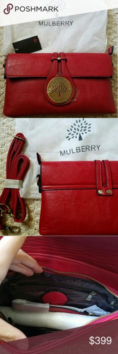 Mulberry Clutch side bag Brand new with tags. Not sure if authentic or not this was a gift and purchased in London.  Real leather. Comes with handle to be a clutch and a side body bag. Really beautiful bag. Mulberry Bags