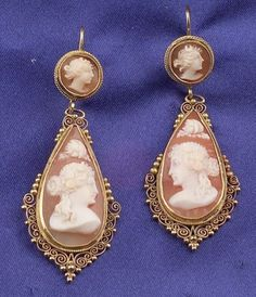 Antique 14kt Gold and Shell Cameo Earpendants, depicting maidens, applied bead and ropetwist accents, lg. 2 in